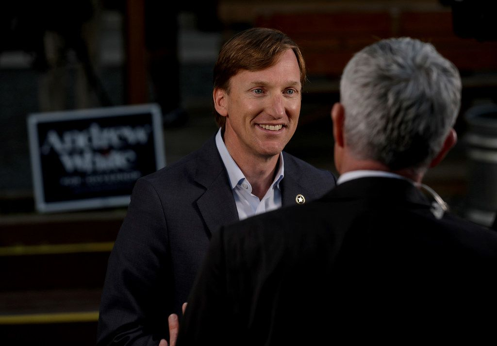 Andrew White, left, a Democratic candidate for governor, talks to a television reporter before an election watch party at Raven Tower in Houston on Tuesday, March 6, 2018. (Jon Shapley/Houston Chronicle)