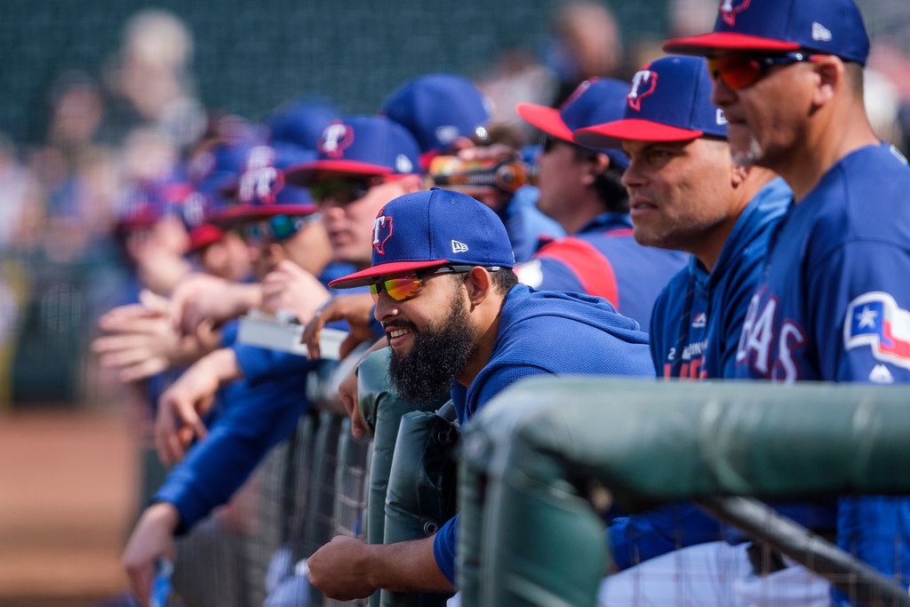 Texas Rangers second baseman Rougned Odor watches from the dugout during the first inning of a spring training baseball game against the Milwaukee Brewers at Surprise Stadium on Sunday, Feb. 24, 2019, in Surprise, Ariz.. (Smiley N. Pool/The Dallas Morning News)