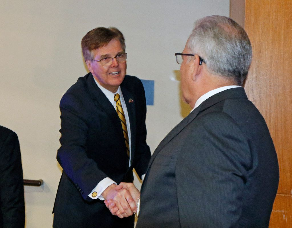 Lt Gov. Dan Patrick greets E. Ray Covey, advisory Committee Chair after giving his speech. Lt Gov. Dan Patrick will appear at the 53rd Texas Legislative Conference in New Braunfels on Friday, March 22, 2019 at the New Braunfels Civic/Convention Center.