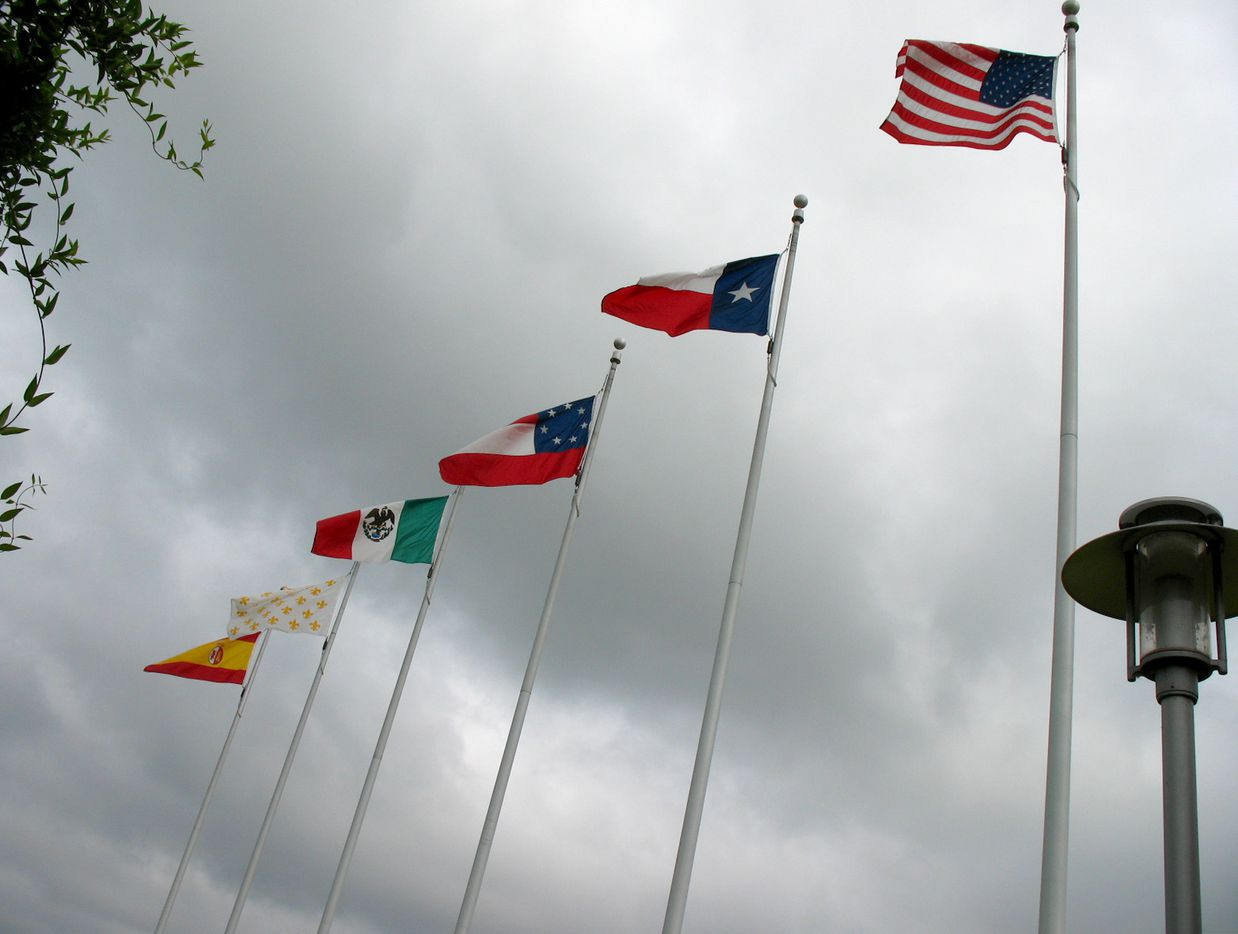 The six flags that have flown over Texas include (from left) Spain, France, Mexico, the Republic of Texas, the State of Texas, and the United States of America.