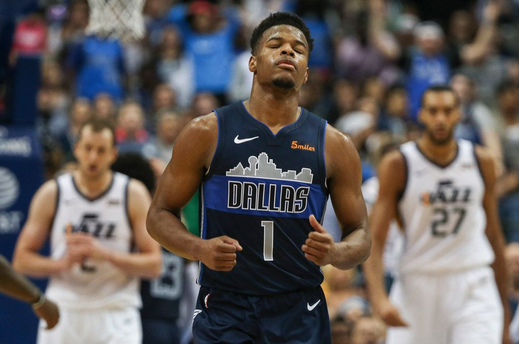 Dallas Mavericks guard Dennis Smith Jr. (1) reacts to a play during the second half a game between the Dallas Mavericks and the Utah Jazz at the American Airlines Center in Dallas, Sunday, October 28, 2018. (Ryan Michalesko/The Dallas Morning News)