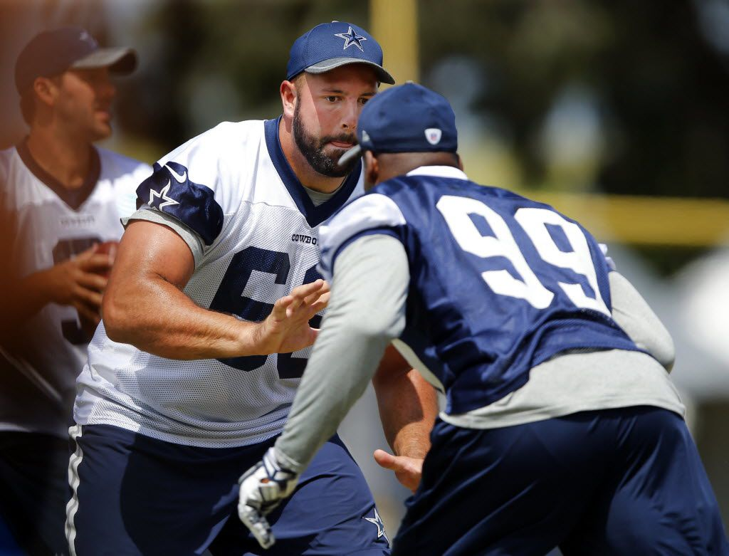Dallas Cowboys tackle Doug Free (68) blocks defensive end Ryan Russell (99) during morning walk-thru at training camp in Oxnard, California, Saturday, August 6, 2016. (Tom Fox/The Dallas Morning News)