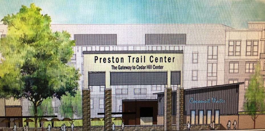 A proposed sketch shows what a proposed development at Straus Road and FM 1382 in Cedar Hill might look like at its entrance. Preston Trail Center is not its official name and is used here for illustrative purposes. The City Council approved the development by a 6-0 vote during its Jan. 24 meeting.