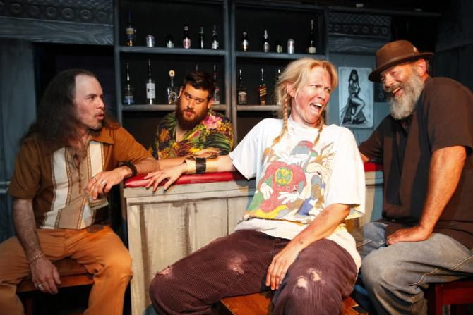 Cast members perform a scene from Ochre House's Christhelmet: Pictured, from left, are Mitchell Parrack, Dante Martinez, Carla Parker and Matthew Posey.