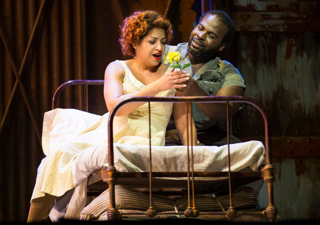 Indira Mahajan, who plays Bess, and Thomas Cannon, who plays Porgy, perform during a dress rehearsal of the Fort Worth Opera's production of the Gershwins' Porgy and Bess at Bass Concert Hall in Fort Worth.