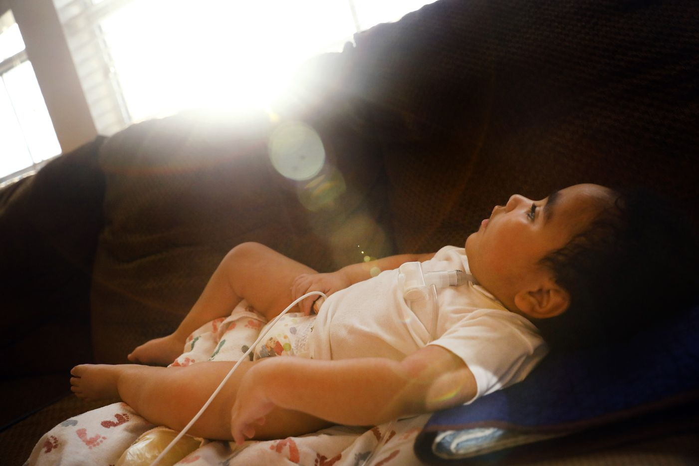 Sunlight streams into the house as D'ashon lies on the couch.