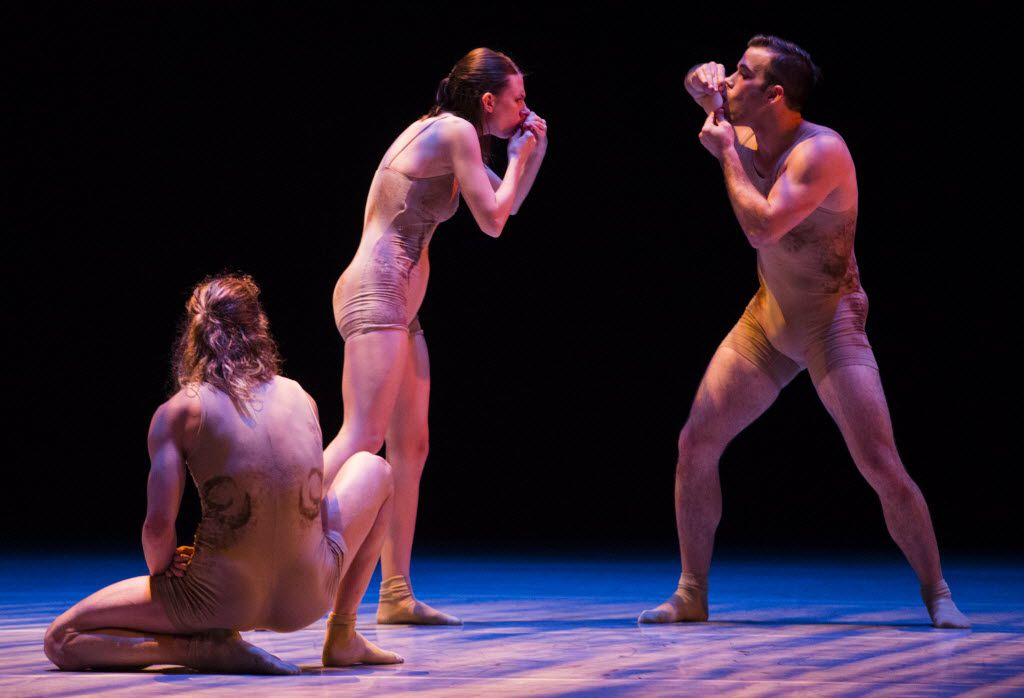 ( Left to right) Brock James Henderson, Mallory Ketch and Gabriel Speiller perform in Skin, choreographed by Andy and Dionne Noble, during a dress rehearsal of the show Six by the Bruce Wood Dance Project on Friday, June 17, 2016 at Dallas City Performance Hall in downtown Dallas.  (Ashley Landis/The Dallas Morning News)