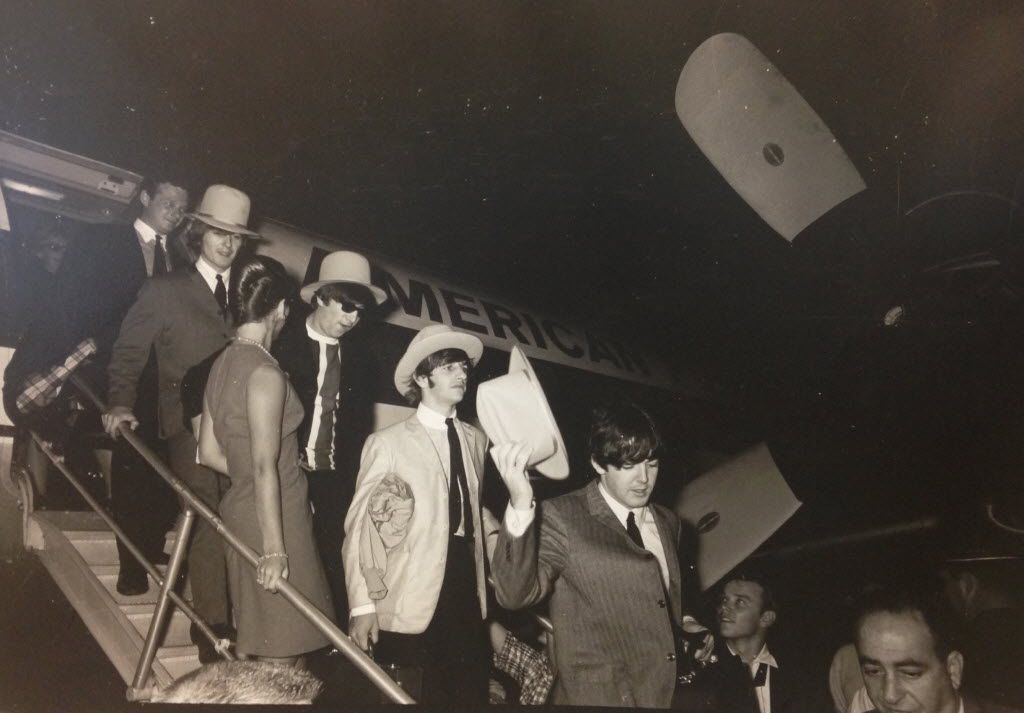 The Beatles arriving at Love Field in Dallas for their 1964 concert.
