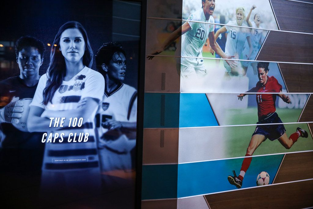 """An interactive screen featuring """"The 100 Caps Club"""" is pictured at the National Soccer Hall of Fame."""