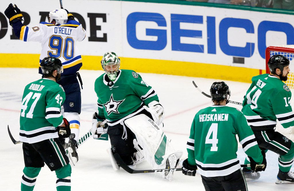 Dallas Stars goaltender Ben Bishop (30) reacts after giving up another goal to the St. Louis Blues following his injury in the third period on Sunday, May 5, 2019 at the American Airlines Center in Dallas, Texas. The teams were playing Western Conference Second Round Game 6 of the 2019 NHL Stanley Cup Playoffs. The Stars lost to the St. Louis Blues, 4-1. (Tom Fox/Dallas Morning News/TNS)