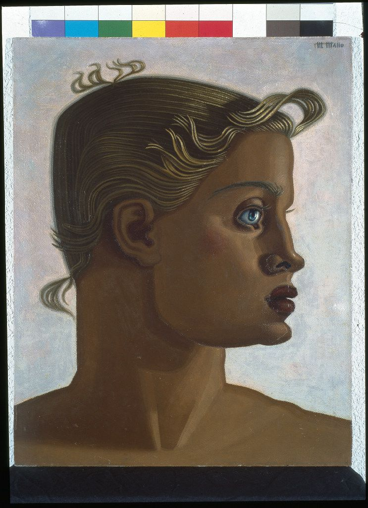 "Maruja Mallo's ""Gold (Two-Dimensional Portrait)"" c. 1951, oil on canvas glued to board, is part of the ""Modern Spanish Art from the Asociacion Coleccion Arte Contemporaneo"" exhibit. (Meadows Museum)"