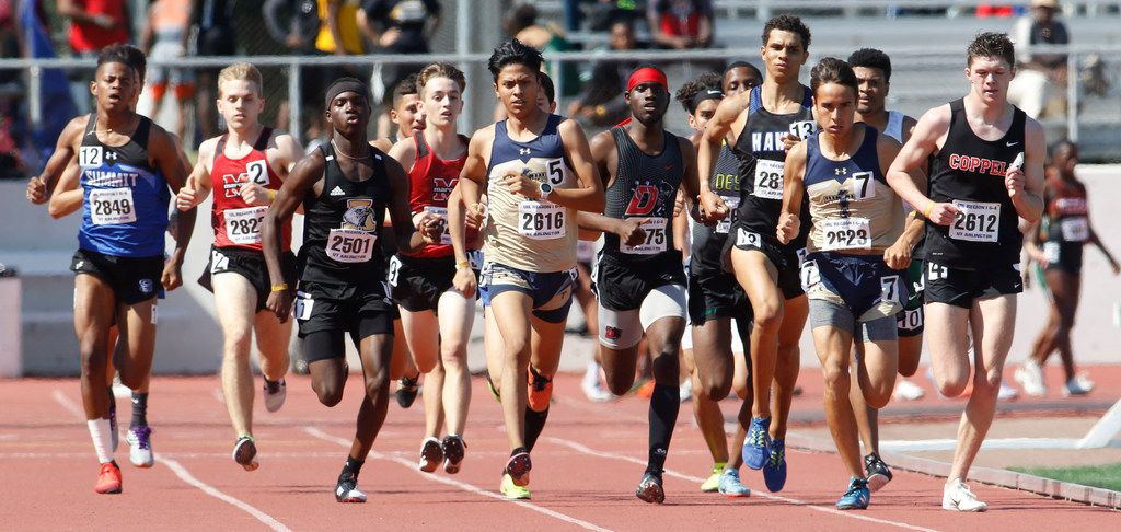 Coppell's Jackson Walker, far right, set the pace early ( as is pictured on the bell lap) and maintained to win the Class 6A Boys 800 meter run. The Class 6A Region 1 and Class 5A Region ll track and field events were held at UT Arlington's maverick Stadium in Arlington on April 27, 2019. (Steve Hamm/ Special Contributor)
