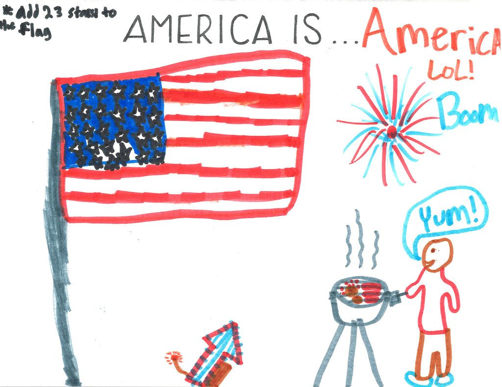 The American flag, fireworks and barbecue take center stage in a drawing by Daniel Amdebirhan, 12.