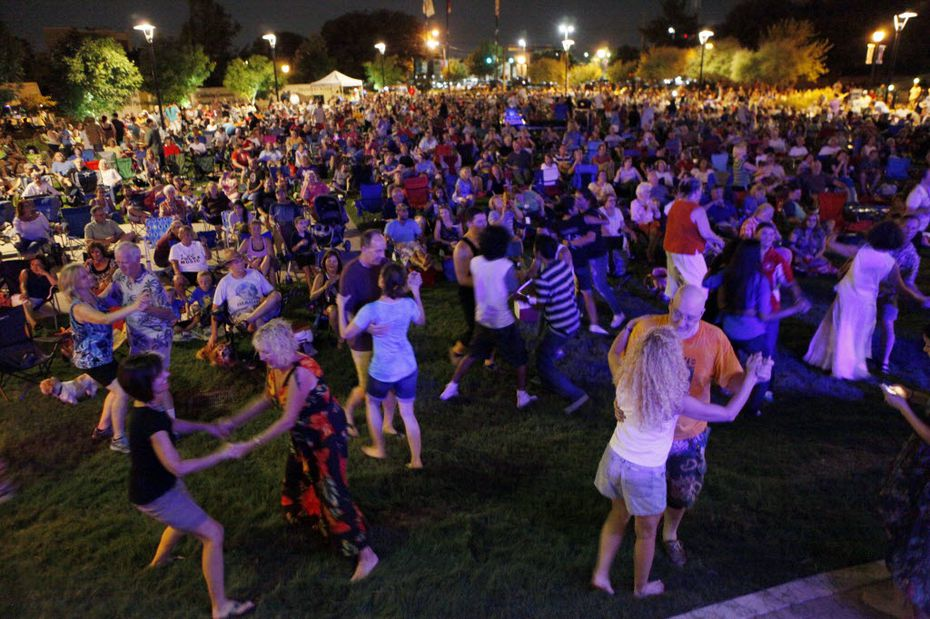 Polka music lovers dance a waltz during a performance by Denton polka band Brave Combo.