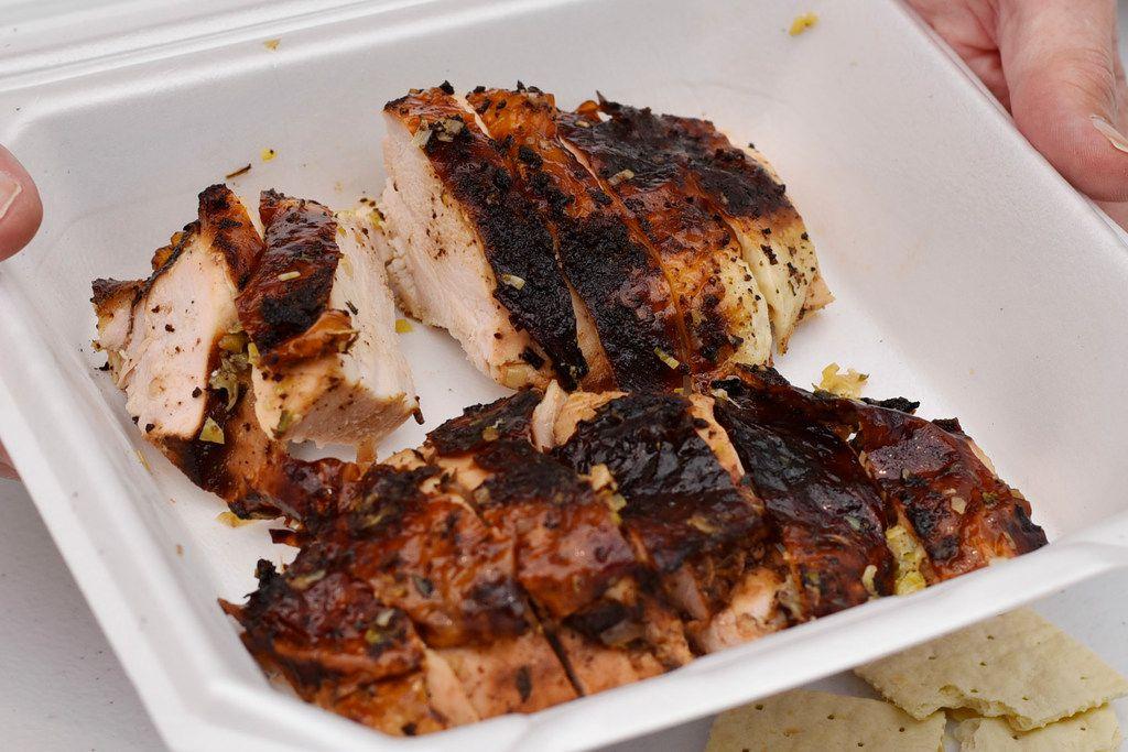 Turkey served for judging at the Dallas Kosher BBQ championships