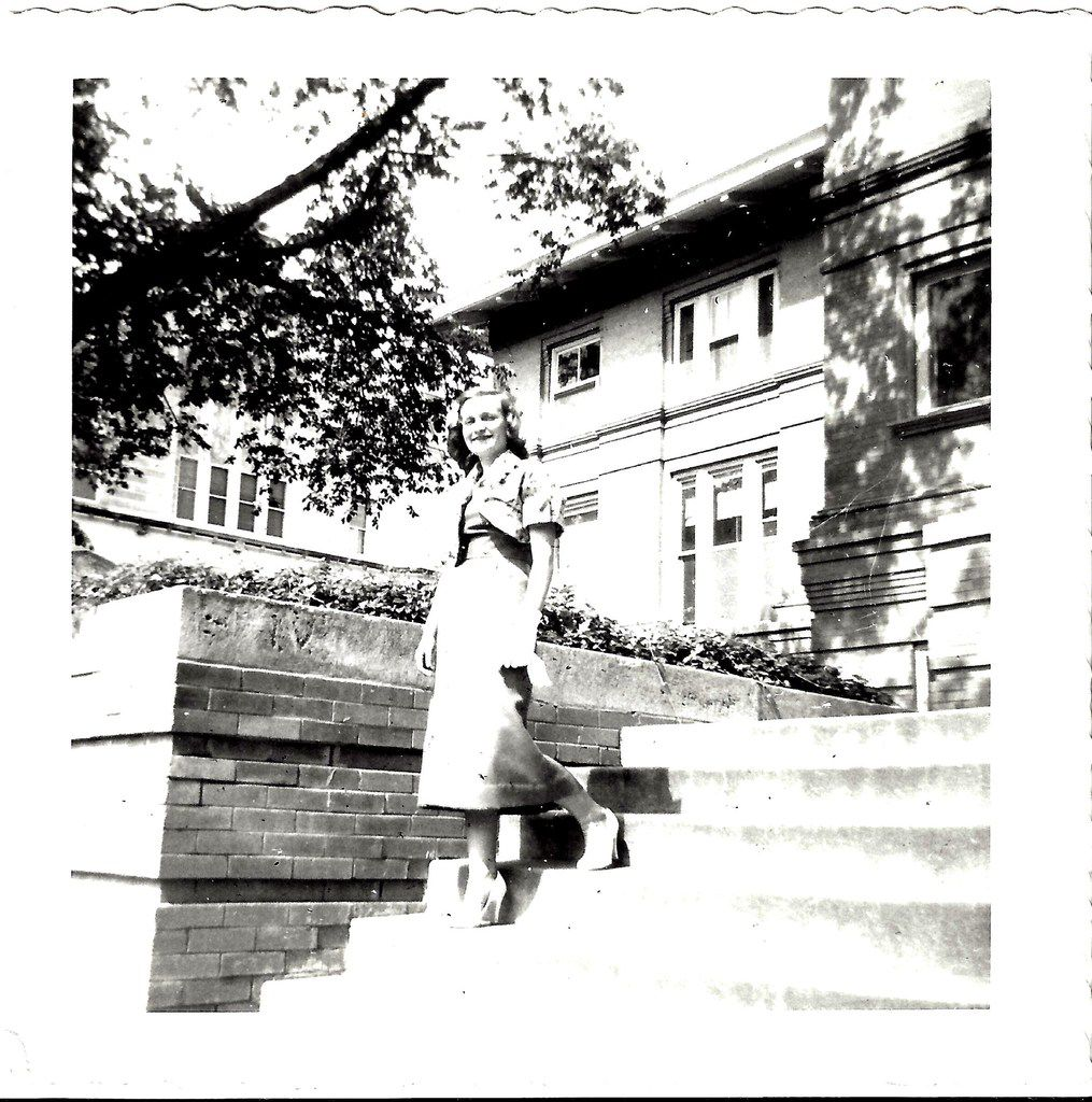 Nancy McCall, Nanette Light's grandmother, then 20, stands outside the University of Oklahoma in 1954. (Submitted by Nancy McCall)