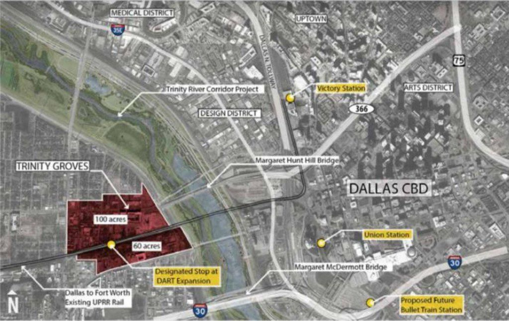 This is a map shows the proposed site in West Dallas for Amazon HQ2 in relation to Downtown Dallas.