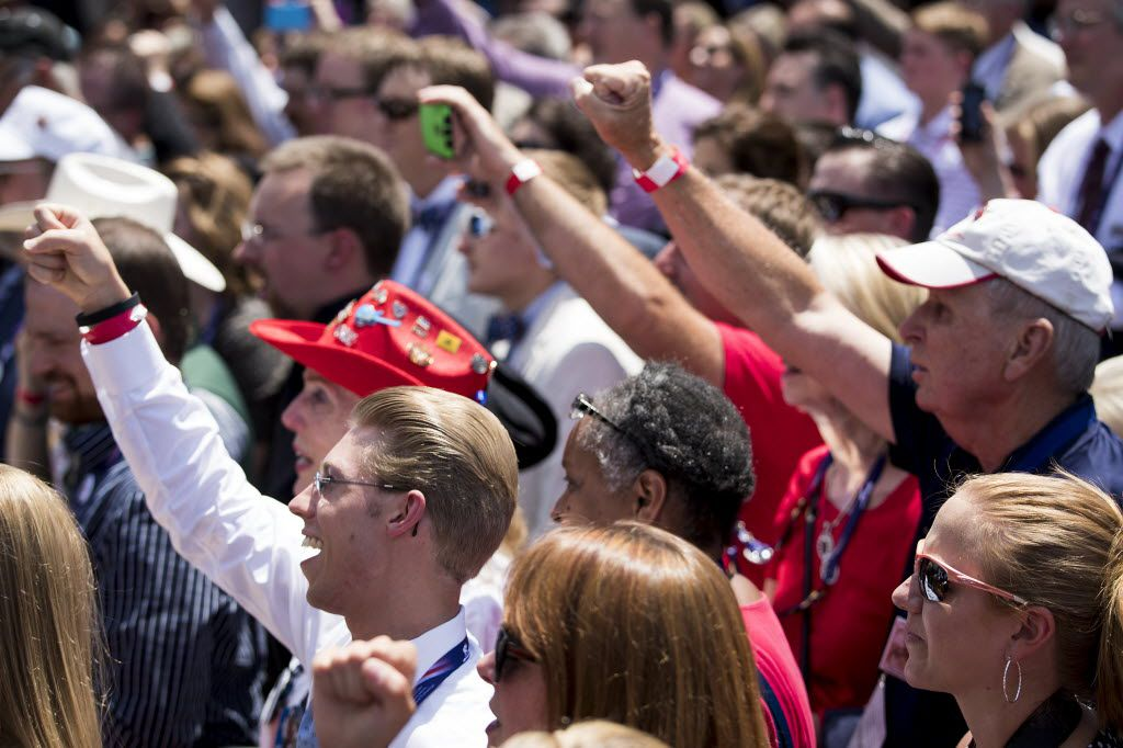 """Supporters chant """"2020! 2020!"""" as Texas Sen. Ted Cruz addresses supporters on the third day of the Republican National Convention on Wednesday, July 20, 2016, in Cleveland. (Smiley N. Pool/The Dallas Morning News)"""