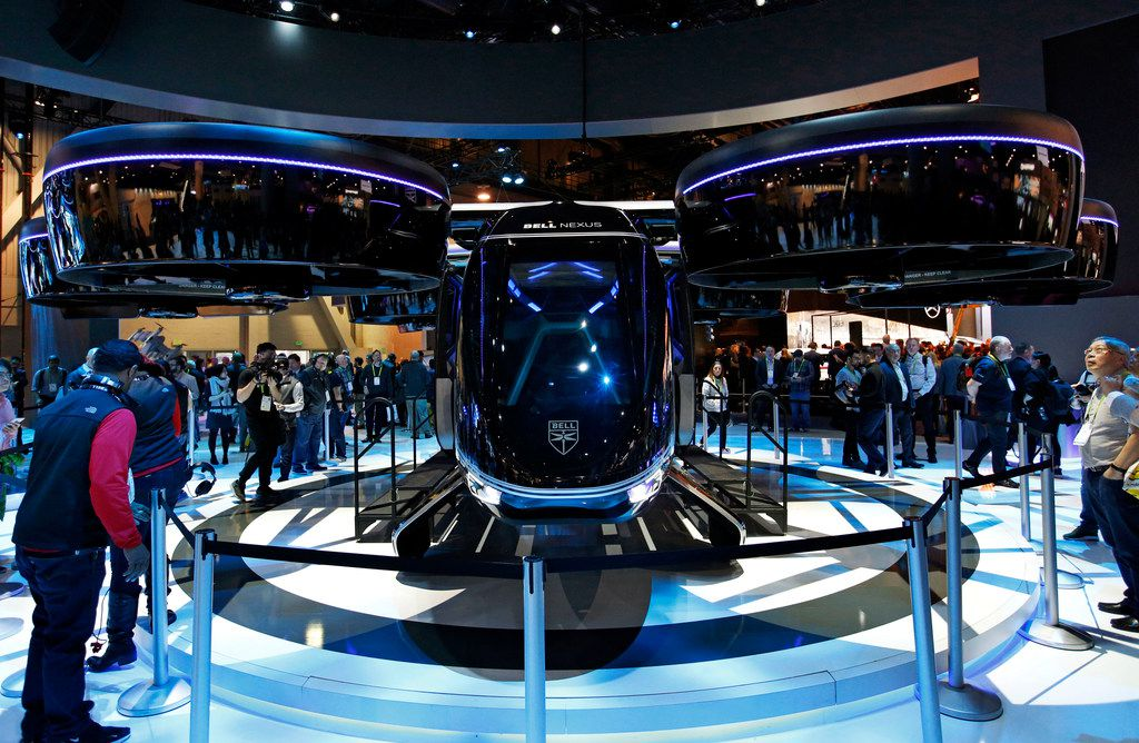 Bell Nexus, a prototype of an air taxi in development by Fort Worth-based Bell, was on display at the Bell booth at CES in early January in Las Vegas.
