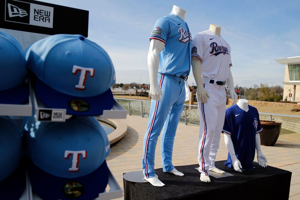 Texas Rangers new uniforms on display during the unveiling of the 2020 uniforms at Live! next to Globe Life Field in Arlington, Texas on Wednesday, December 4, 2019. (Vernon Bryant/The Dallas Morning News)