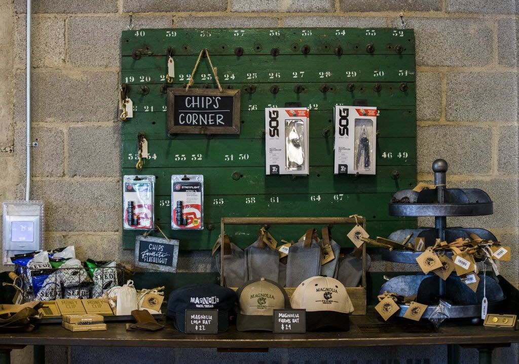 Chip's corner, which includes items like hats, t-shirts and multitools, inside the new location of Magnolia Market at the Silos, owned by Chip and Joanna Gaines, hosts of HGTV's Fixer Upper, on Thursday, October 29, 2015 at Magnolia Market at the Silos in Waco, Texas.   (Ashley Landis/The Dallas Morning News)