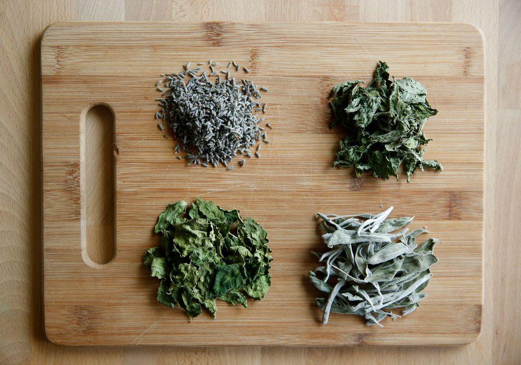 Clockwise from top: Lavender, mint, sage and moringa leaves, imported from Ethiopia