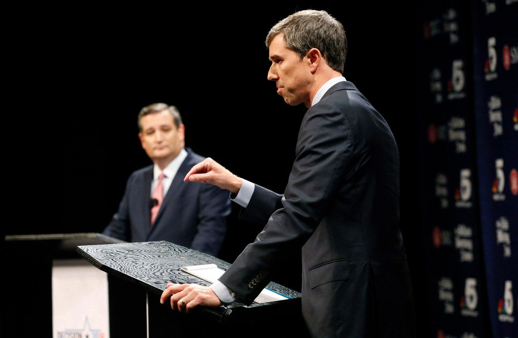 On Sept. 21, Republican U.S. Senator Ted Cruz (left) and Democratic U.S. Representative Beto O'Rourke  take part in their first debate for the Texas Senate in Dallas. The second debate between O'Rourke and Cruz was postponed (Tom Fox/The Dallas Morning News)