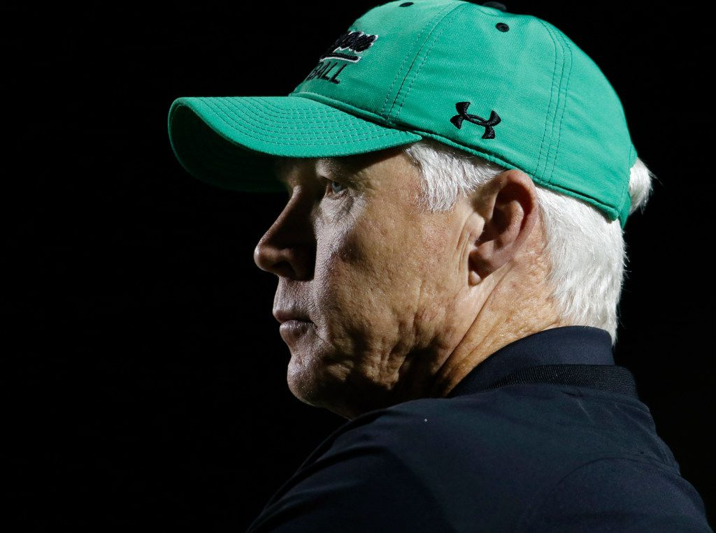 Southlake Carroll head coach Hal Wasson looks on from the team bench area during first quarter action of their game against Flower Mound Marcus. The two teams played their District 5-6A football game at Dragon Stadium in Southlake on October 20, 2017. (Steve Hamm/Special Contributor)