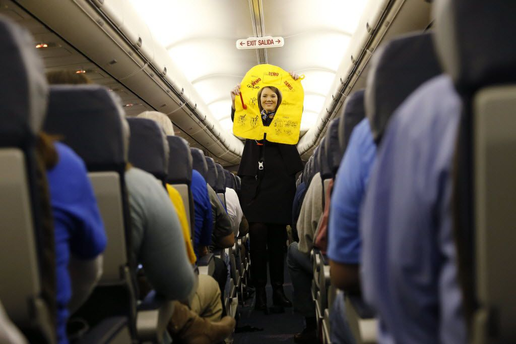 Southwest Airlines flight attendant Stuart Fisher goes over the safety issues on a Southwest Airlines flight.