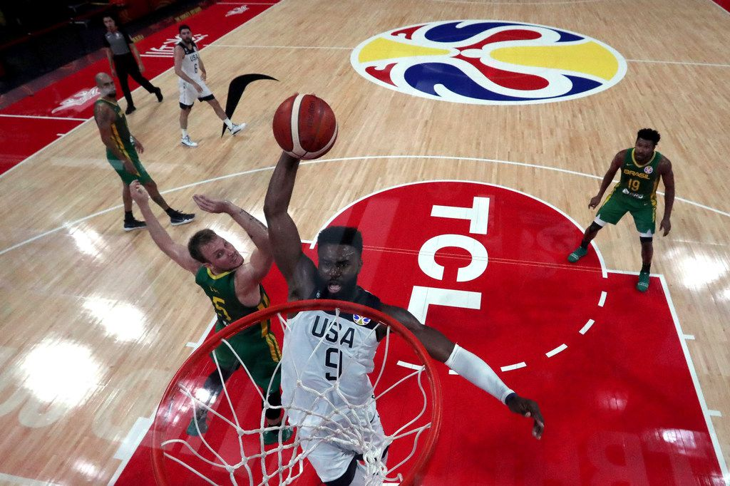 United States' Jaylen Brown prepares to dunk during a match against Brazil for the FIBA Basketball World Cup at the Shenzhen Bay Sports Center in Shenzhen on Monday, Sept. 9, 2019. (AP Photo/Ng Han Guan, Pool)