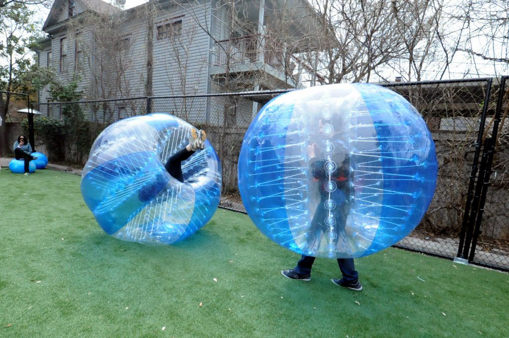 Bubble soccer: Soccer with giant protective bubbles. In warm weather, you can play at the backyard bar at the Social House in Uptown.