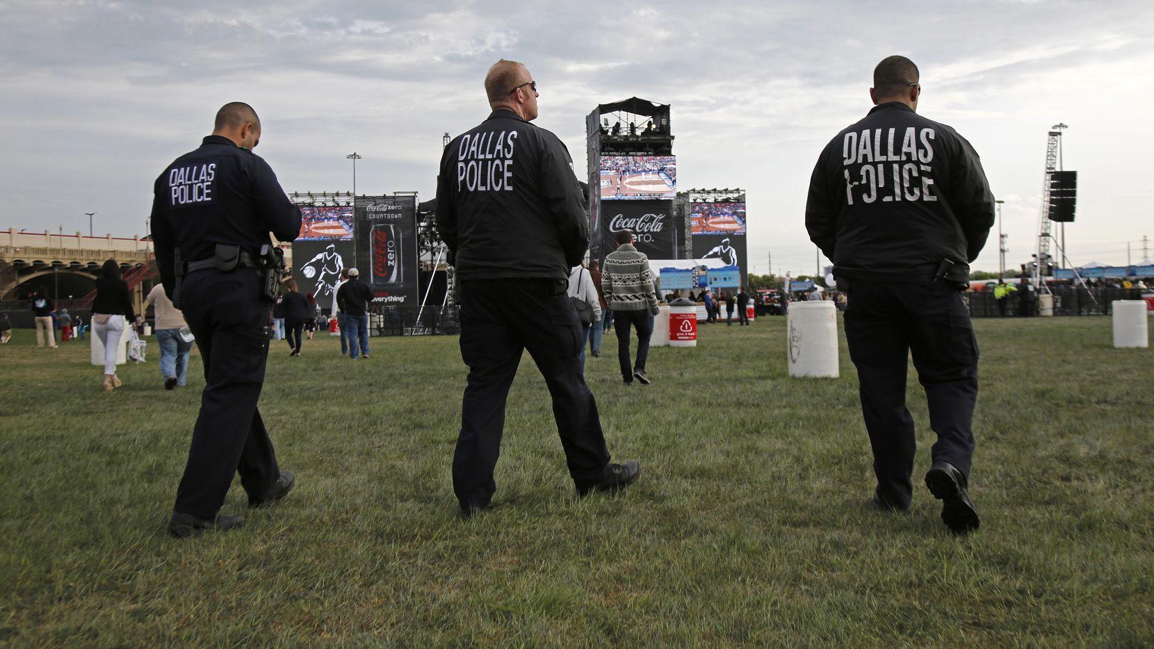 Dallas police on patrol at the March Madness Music Festival at Reunion Park in Dallas April 5,  2014.