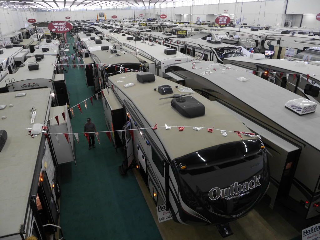 Wall to wall trailers, motor homes, and campers of all sizes and prices at the Southwest RV Supershow at the Dallas Market Hall Friday September 12, 2014.  (Ron Baselice/The Dallas Morning News) 09132014xMETRO