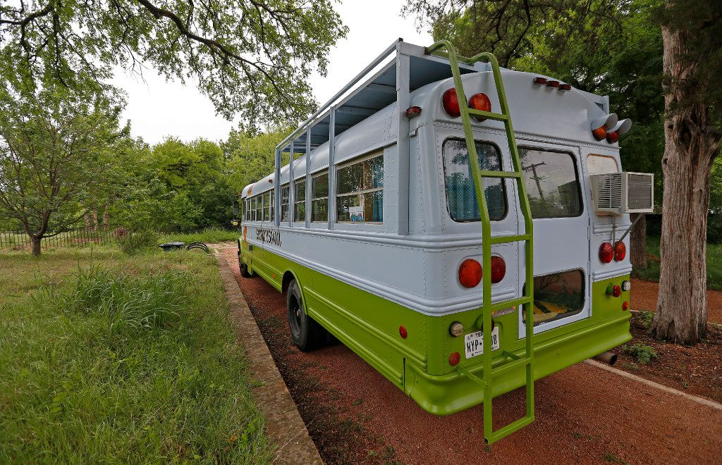 Seed Preschool, a school inside a bus, is stationed at Twelve Hills Nature Center in Dallas. (Jae S. Lee/The Dallas Morning News)