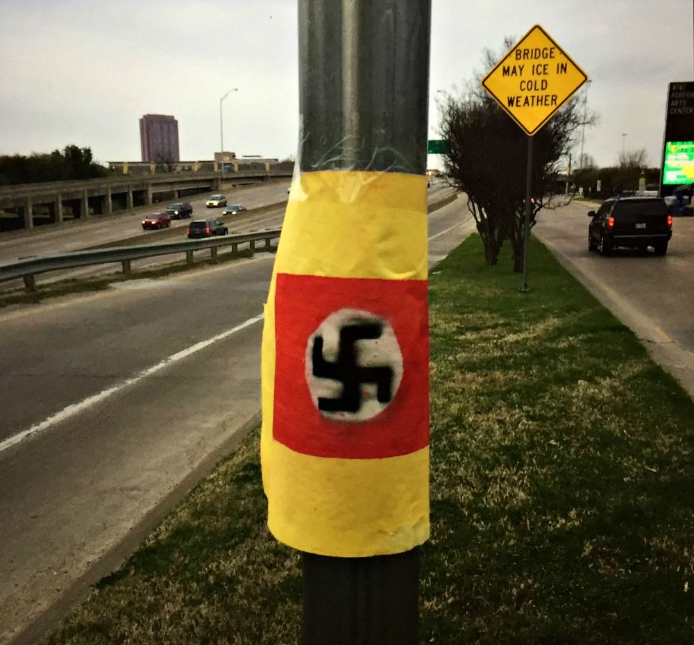 Russell Campbell took this photo of the swastika behind the AT&T Performing Arts Center on Sunday afternoon, after which ...