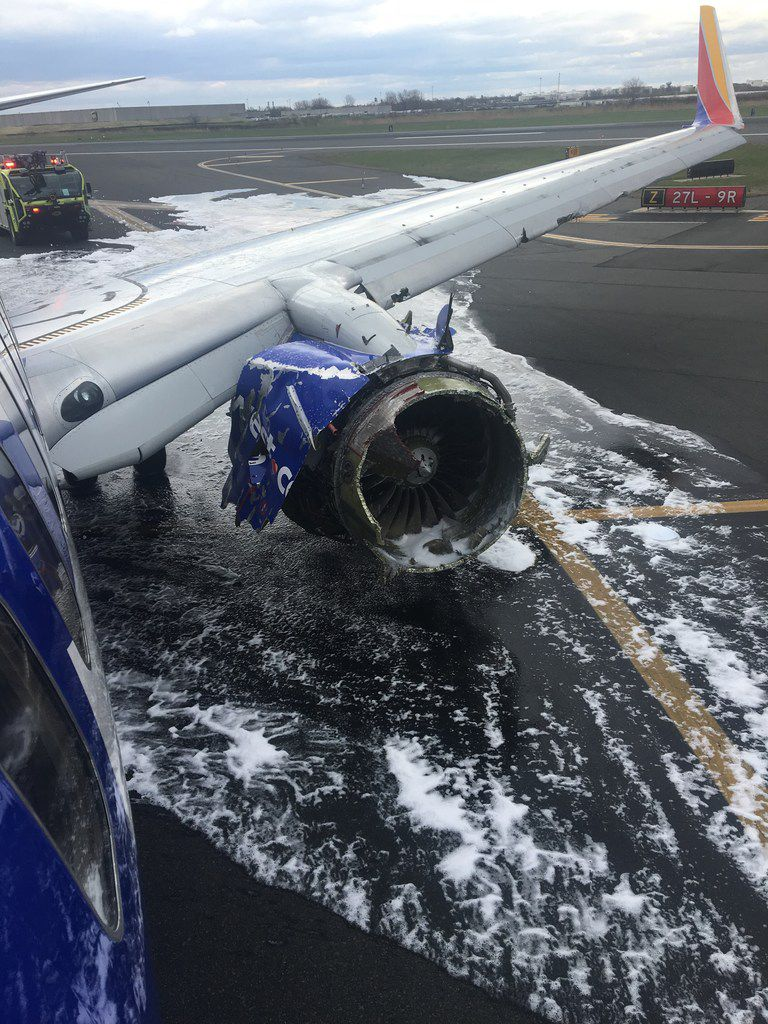 The damaged engine on Southwest flight 1380 on April 17, 2018. A turbine blade broke off, damaged the engine. It crippled the engine during a flight between LaGuardia Airport and Dallas and debris broke a window out, killing a passenger.