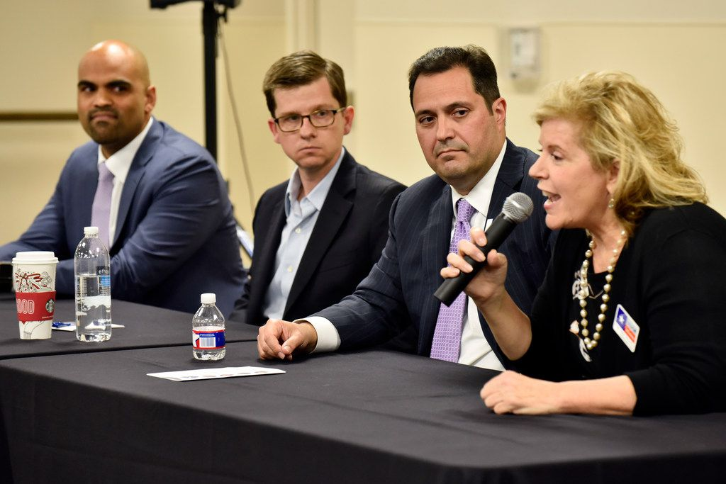 Collin Allred (from left), Ed Meier, George Rodriguez and Lillian Salerno, candidates for the 32nd Congressional District, spoke during a community forum hosted by The Preston Hollow Democrats in early November.