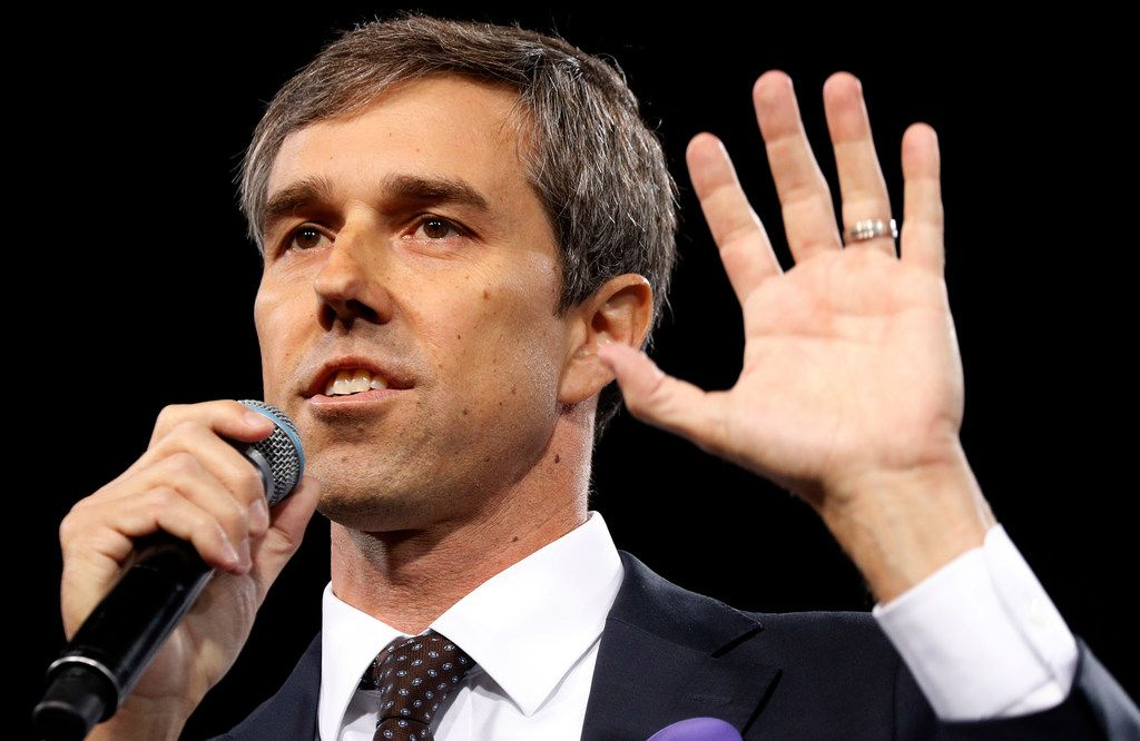 In this April 27, 2019, photo, Democratic presidential candidate and former Texas congressman Beto O'Rourke speaks at a Service Employees International Union forum on labor issues in Las Vegas.