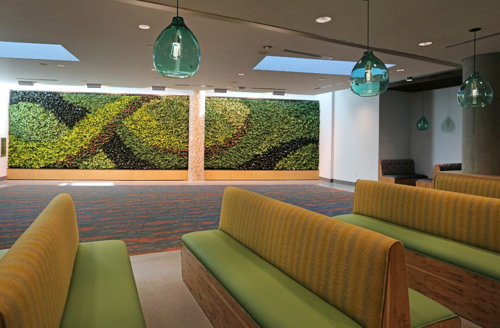 "A ""living wall"" showcases foliage in natural light as part of the design at the Toyota headquarters."