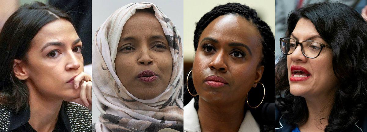 From left: U.S. Reps. Alexandria Ocasio-Cortez, D-N.Y.; Ilhan Omar, D-Minn.; Ayanna Pressley, D-Mass.; and Rashida Tlaib, D-Mich.    (July 2019)