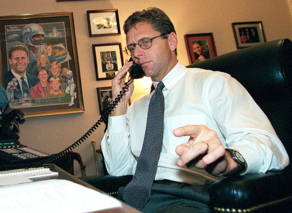 US Rep. Steve Largent talking on the telephone in his Capitol Hill office as he  looked for support in his bid to be the next House Majority leader. (LUKE FRAZZA/AFP/Getty Images)