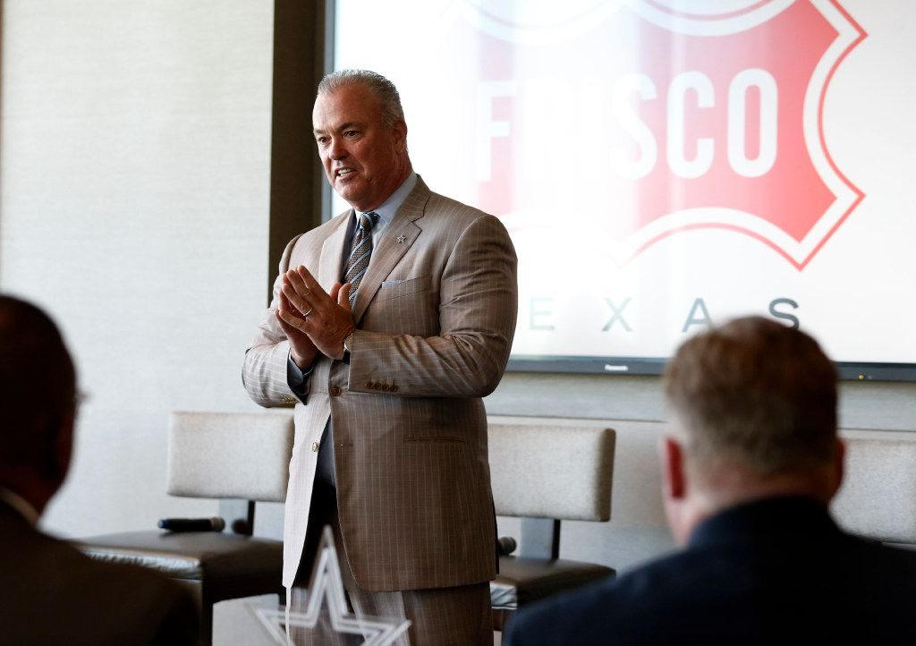 Dallas Cowboys executive vice president Stephen Jones speaks before the start of a panel at the U.S. Conference of Mayors Professional Sports Alliance at The Star in Frisco, on April 7.