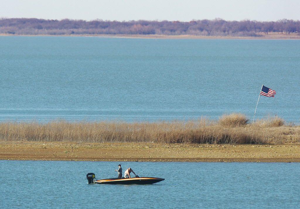 Fishermen on Lake Ray Roberts Lake in 2014.