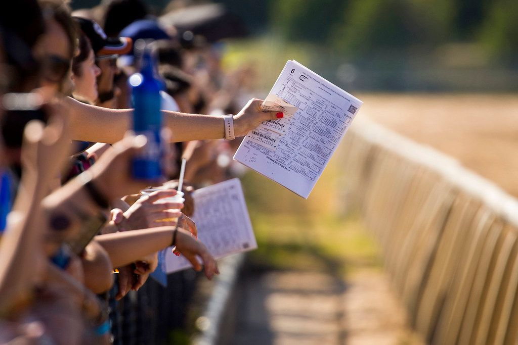 """Spectators lean against the trackside railing during """"Extreme Racing"""" at Lone Star Park on Saturday, April 28, 2018, in Grand Prairie, Texas. Ridden by Lone Star Park jockeys, camels, ostriches and zebras took to the track between horse races, with each animal paired with a local non-profit charity. (Smiley N. Pool/The Dallas Morning News)"""