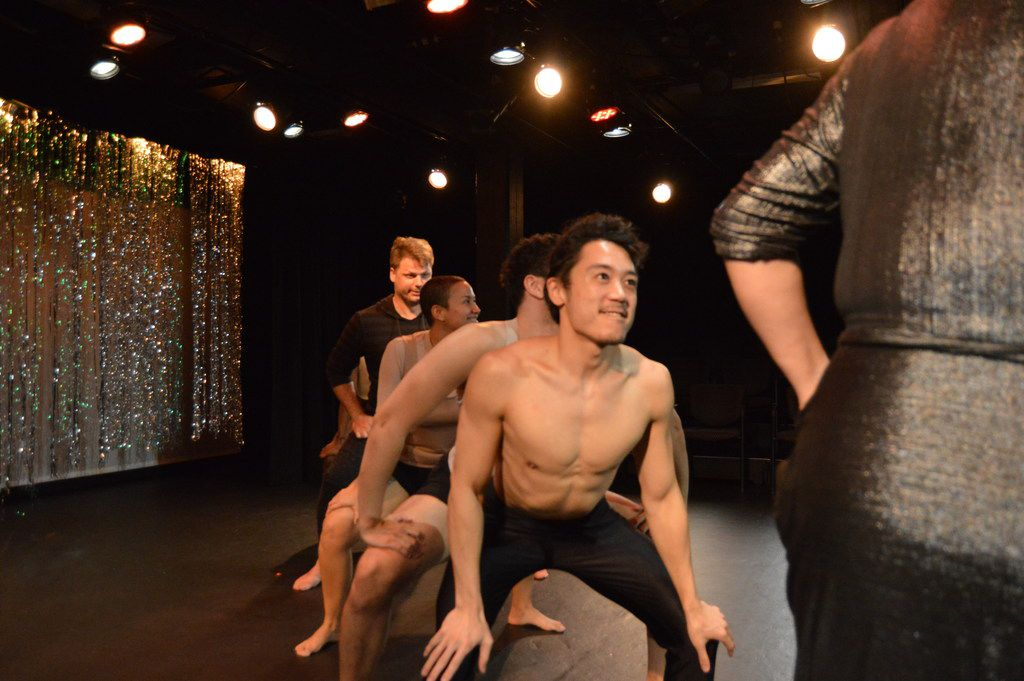 Christopher Lew (center) is one of the beauty pageant contestants in Very Good Dance Theatre's The 1st Annual Gay Show at the Festival of Independent Theatres.