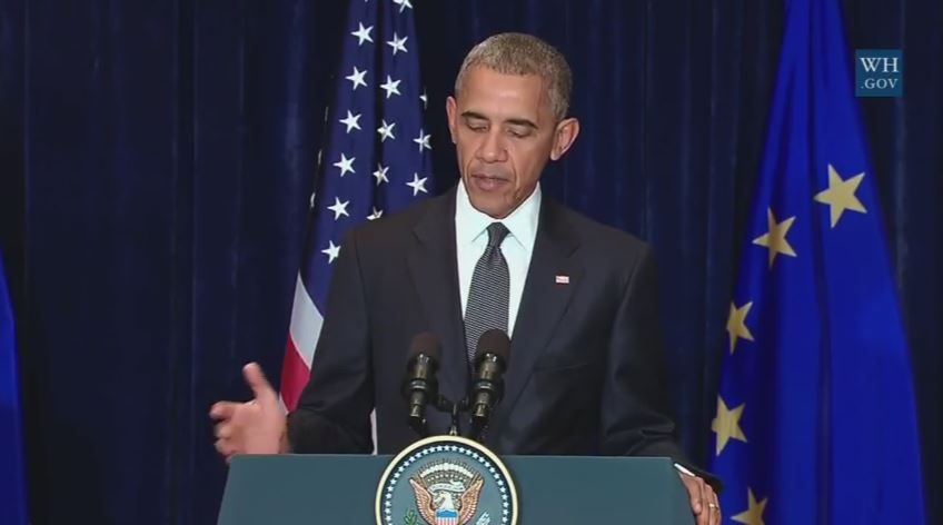 Screen capture of President Barack Obama giving an address on the shootings in Dallas from Warsaw, Poland.