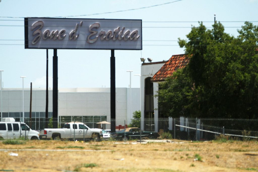 The exterior of Zone d'Erotica building on Forest Lane in Dallas