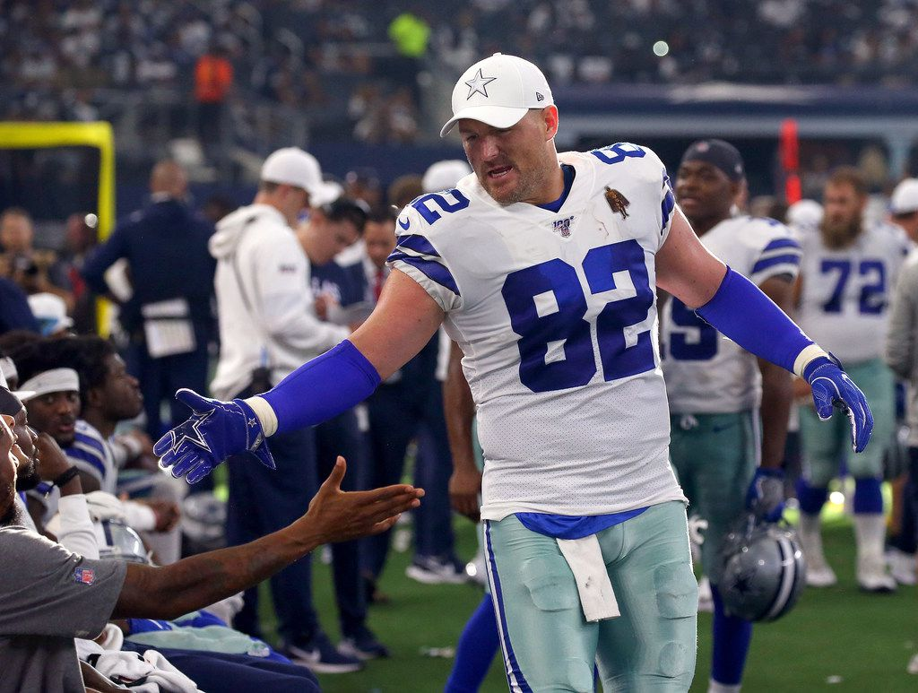 Jason Witten of the Dallas Cowboys celebrates on the sidelines in the fourth quarter against the New York Giants at AT&T Stadium on Sept. 8, 2019 in Arlington. (Richard Rodriguez/Getty Images)