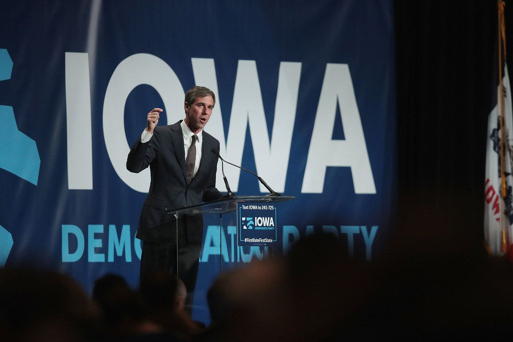 CEDAR RAPIDS, IOWA - JUNE 09: Democratic presidential candidate and former Texas congressman Beto O'Rourke speaks at the Iowa Democratic Party's Hall of Fame Dinner on June 9, 2019 in Cedar Rapids, Iowa. Nearly all of the 23 Democratic candidates running for president were campaigning in Iowa this weekend. President Donald Trump has two events scheduled in the state on Tuesday.  (Photo by Scott Olson/Getty Images)