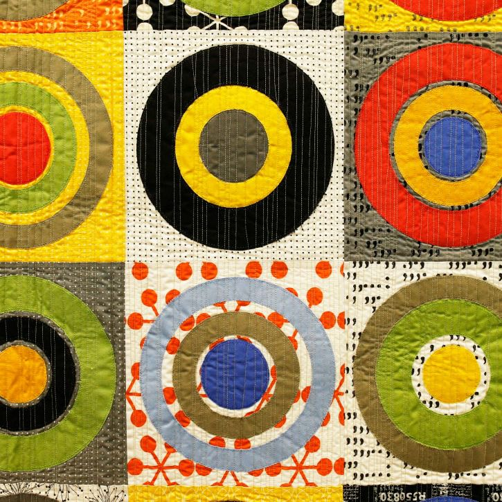 "Detail of ""Modern Target Practice,"" by Robin Williamson of Carrollton on display during Quilt Plano 2014."